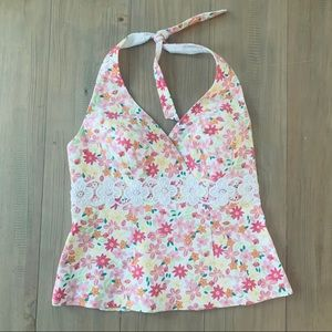 {Lilly Pulitzer} Bright Floral Halter Top NWOT